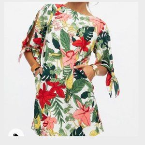 Floral print mini shift dress with tie sleeves
